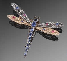Antique Gem Set Dragonfly Tremblant Brooch