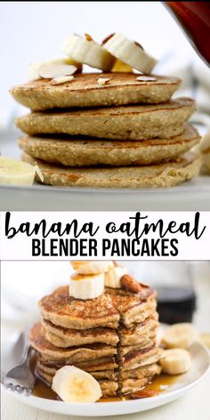 breakfast oatmeal Banana oatmeal pancakes are sweetened naturally and made with no flour. Blender pancakes are easy an easy and healthy breakfast recipe. Top these healthy banana oat pancakes with fresh fruit, nuts, almond butter or syrup and serve! Banana Oatmeal Pancakes, Banana Oats, Breakfast Pancakes, Healthy Banana Pancakes, Healthy Filling Breakfast, High Protein Breakfast, Healthy Kids Breakfast, Dinner Healthy, Oat Flour Pancakes