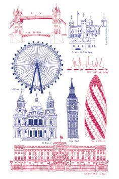London landmarks // print I have seen all these. London Landmarks, London Skyline, City Illustration, London Art, Limited Edition Prints, Great Britain, Creative Design, England, Buckingham Palace