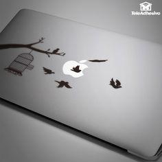 Pegatinas: Jaula de pájaros #pegatinas #macbook #ordenador #tablet #decoracion #casa #pájaro #ave #TeleAdhesivo