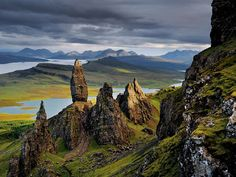 Basalt Pinnacles, Scotland  On Skye's Trotternish Peninsula, basalt pinnacles loom over the Sound of Raasay. Rising from the debris of an ancient landslide, they bear witness to the geologic upheavals that shaped these lands.