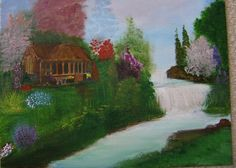 Cabin near a water fall. Acrylic painting inspired by Bob Ross and Thomas Kinkade paintings.