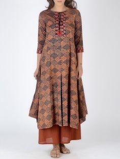 Rust-Black Block-Printed Box Pleated Cotton Kurta with Embroidery