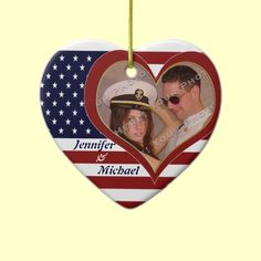USA Patriotic Flag Heart Your Photo Christmas Ornament or Favor $18.75 by XG Designs NYC. #militarylove #patriotic #ornament