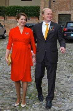 Prince Carlos de Bourbon de Parme and Princess Annemarie de Bourbon de Parme-Gualtherie van Weezel  attends the Holy Mass in the Chiesa di San Sisto Piacenza in Italy, 28.09.13