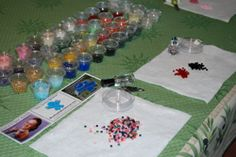 how to set up a beading party for teens or younger kids (bracelets from seed beads with stretch magic cord)