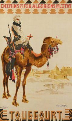 Vintage Railway Travel Poster - Touggourt - Algeria - by Roger Jouanneau Irriera - 1930.