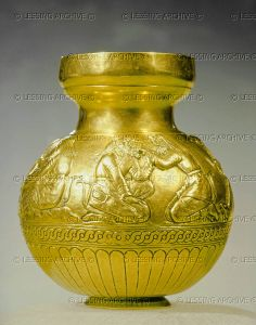 Electrum cup with bas-relief depicting Scythians. Gold, 2nd half of the 4th century BCE. From Kul'-Oba kurgan, Crimea, Ukraine. Height 13cm. Eremitage (Hermitage), St. Petersburg, Russia