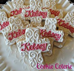 Monogrammed Cross Baptism Confirmation Baby Dedication Cookie Favors One Dozen on Etsy, $28.00