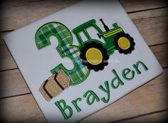 White farm tractor birthday shirt  John Deere birthday by ClassicCityEmb