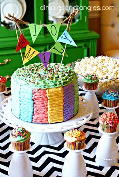 Dimples and Tangles: RAINBOW RUFFLE POLKA DOT CONFETTI CAKE Ruffle frosting outside and colored polka dots inside the cake!!