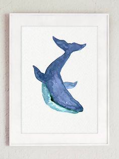 Oceanic Life Animal Art Blue Teal Watercolour Painting Sea