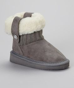 Take a look at this Gray Fold-Over Faux Shearling Boot by Ameta Corporation on #zulily today!
