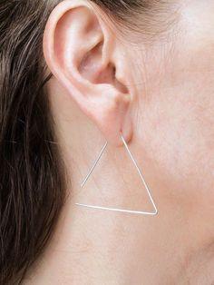 Triangle Threader Earrings Sterling Silver Earrings Gold Earring Thin Earring Wire Earring Minimalist Earrings Modern Earring Simple Earring Simple Earrings, Wire Earrings, Simple Jewelry, Sterling Silver Earrings, Rose Art, Triangle Shape, Minimalist Earrings, Or Rose, Spiral