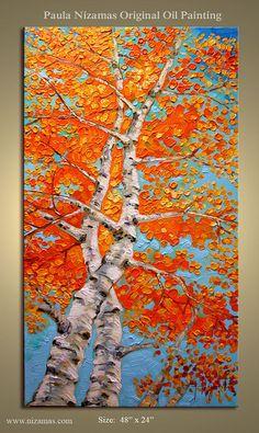 ORIGINAL Impressionist Aspen trees Painting Modern von Artcoast