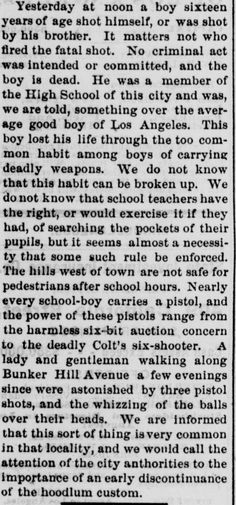 Article from an 1874 edition of The Los Angeles Herald expressing concern about boys carrying guns to school