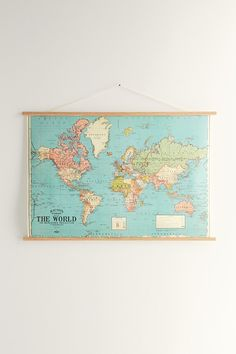 Hanging World Map Art Print And Dowels
