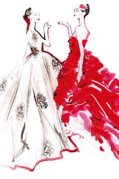 Dior fashion illustration.women's fashionable dress