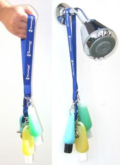 Lanyard (waterproofed with beeswax) becomes a shower caddy :) Hang it from shower heads tree branches or your travel companion.  30 Outdoor Travel Hacks To Turn You Into A Backpacking Badass