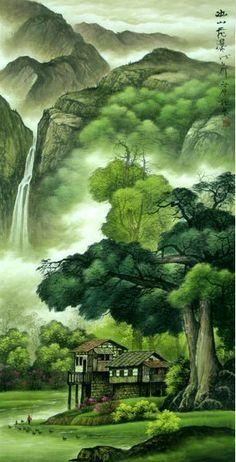 chinese waterfalls | Chinese Paintings - Landscape Paintings - Waterfall - Oriental Arts ...