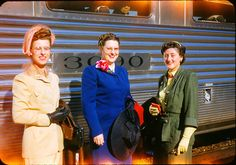 Three women in lovely suits stand in front of a train, c.1947. #vintage #1940s #fashion