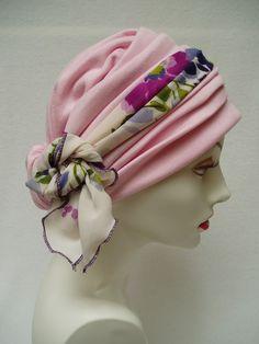 Headwrap Pink Chemo Hat  Alopecia Cancer Headwrap by NinisNiche, $47.00