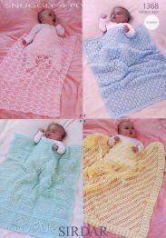 Sirdar Snuggly 4 Ply Baby Blankets & Shawl Crochet 1368