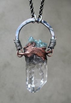 Tribal Amulet with Clear Quartz and Aqua Aura by SilviasCreations, $139.00