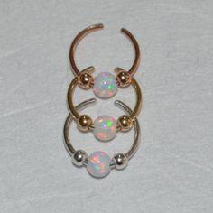 3mm Opal Septum Cuff Silver Fake Septum Ring Nose Cuff