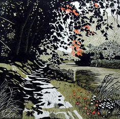 Canal du Midi woodblock by Wouter Ten Broek