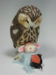 """Needle Felted 3"""" Pawdling Bunny Melonie Ann by Barby Anderson / Saw Whet owl By Helen Priem by feltedmice, via Flickr"""