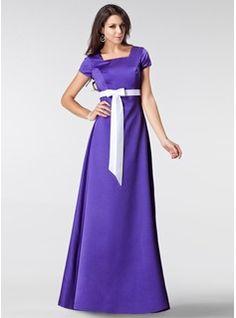 A-Line/Princess Square Neckline Floor-Length Satin Bridesmaid Dress With Sash Bow(s) (007020331) - JJsHouse