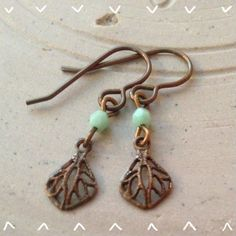 Small Handmade Vintage Inspired dangle earrings, Brass Earrings, Filigree Earrings, Dainty Earrings