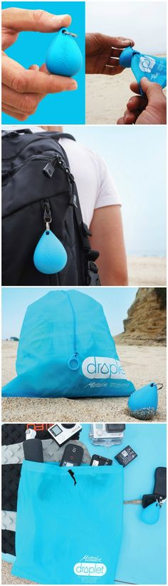 Matador Droplet Wet Bag. Compact enough to fit on a keychain and large enough for a whole outfit. Your sweaty gym clothes and wet swim suits are no match. http://amzn.to/2pfvyHP