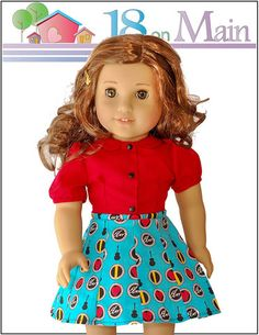 18 on Main Skip To My Lou Doll Clothes Pattern 18 inch American Girl Dolls | Pixie Faire #18onMain #PixieFaire