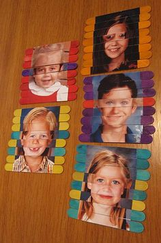 Popsicle Stick Photo Puzzles With Mix-and-Match Faces
