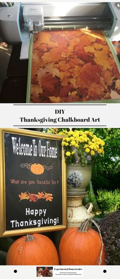Create your own thanksgiving chalkboard art. This happy thanksgiving sign is easy to make using an old chalkboard and your Cricut! #thanksgivingchalkboardart #happythanksgivingsign #Cricutexplorecrafts #DIYdecorideas