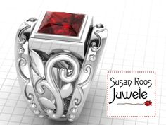This luscious silver ring with fiery red gem