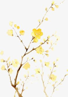 Yellow flowers, Hand-painted Cartoon, Yellow, Flowers And Trees PNG Image and Clipart