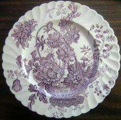 Purple Lavender Lush Basket Roses Scalloped Vintage Plate