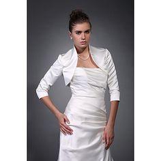 bela 3/4 de comprimento mangas de cetim nupcial envoltório jaqueta / casamento – BRL R$60,70