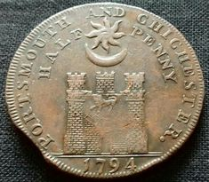 Portsmouth & Chichester Half Penny 1794 Portsmouth England, Hampshire Uk, Chichester, My Heritage, Random Stuff, Coins, School, Sweet, Travel