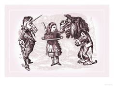 Through the Looking Glass: Alice, Lion, Unicorn and Cake, by John Tenniel