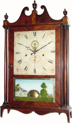 Mahogany veneer on butternut secondary wood 'outside escapement' pillar and scroll shelf clock by Eli Terry in Connecticut circa 1817