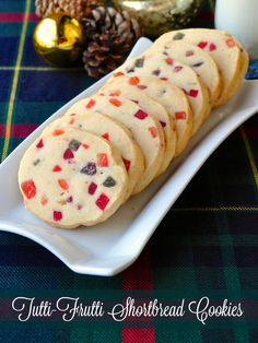 Tutti Frutti Shortbread Cookies - Sweet glace fruit adds festive, colourful, festive flair to buttery shortbread cookies. Perfect to leave for Santa on Christmas Eve.