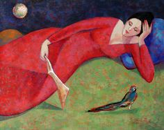 Marita Peña Mora Original Expressionist Painting Peru Art - Woman Reading with Peacock Reading Art, Woman Reading, Books To Read For Women, Book People, Female Art, Book Lovers, Book Worms, Lady In Red, Photo Art