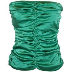 Preowned Flavio Castellani Emeral Green Silk Crepe De Chine Strapless... ($585) ❤ liked on Polyvore featuring tops, bustiers, green, special occasion tops, shirred top, holiday tops, green strapless top and green bustier