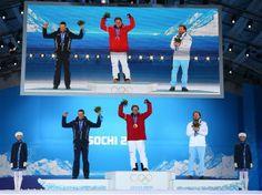 Silver medalist Christof Innerhofer of Austria, gold medalist Matthias Mayer of Austria and bronze medallist Kjetil Jansrud of Norway at the medal ceremony