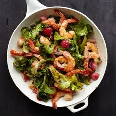 A Dinner-Size Salad That's Served Warm with Shrimp, Radishes, Anchovy, and Escarole - Bon Appétit Warm Salad, Winter Salad, Quick Recipes, Healthy Recipes, Meatless Recipes, Roasted Tomato Sauce, C'est Bon, Soup And Salad, Salad Recipes