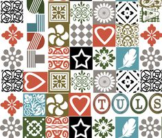 Large scale.  I Heart Tulsa Squares fabric by image_crafts on Spoonflower - custom fabric